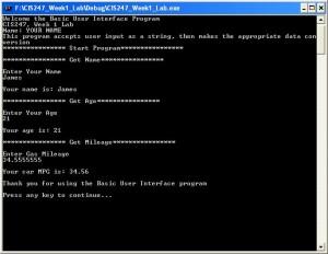 CIS247 Lab 1 in C++ - Ouput