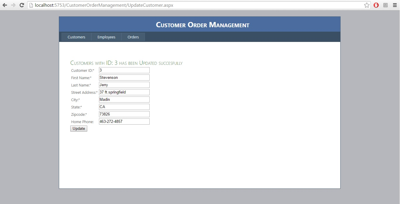 Week7 CourseProj.: UpdateCustomer