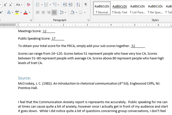 SPCH275 Week 1 homework - Communication Anxiety Report and