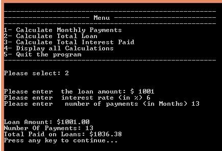 Week 6: total loan